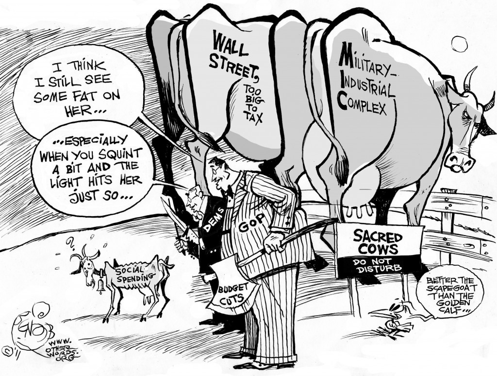 Scapegoating Social Spending cartoon