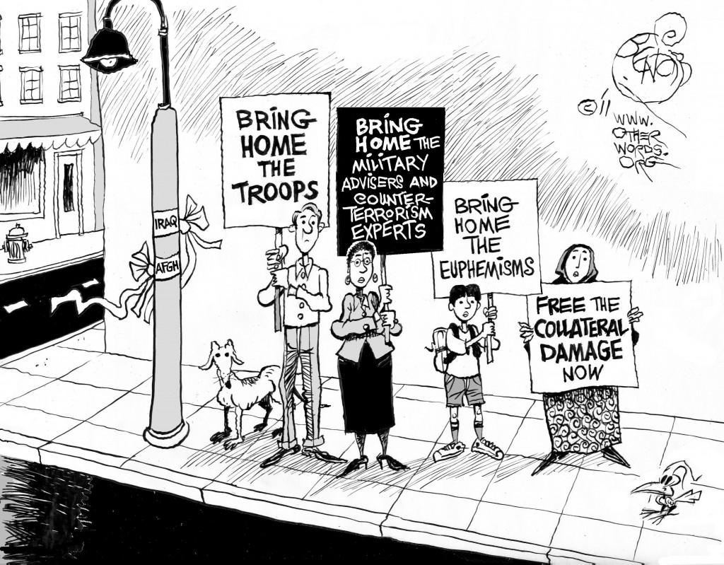 Enough War Already, OtherWords cartoon by Khalil Bendib.