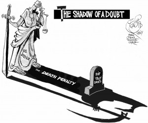 Doubt's Long Shadow, OtherWords cartoon by Khalil Bendib