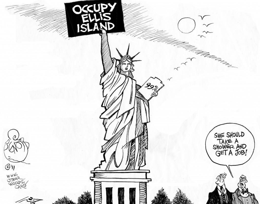 Occupy Ellis Island, an OtherWords cartoon by Khalil Bendib.