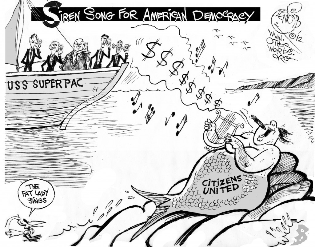 USS Super PAC, an OtherWords cartoon by Khalil Bendib.