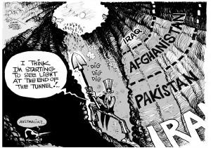 """Endless War,"" an OtherWords cartoon by Khalil Bendib"