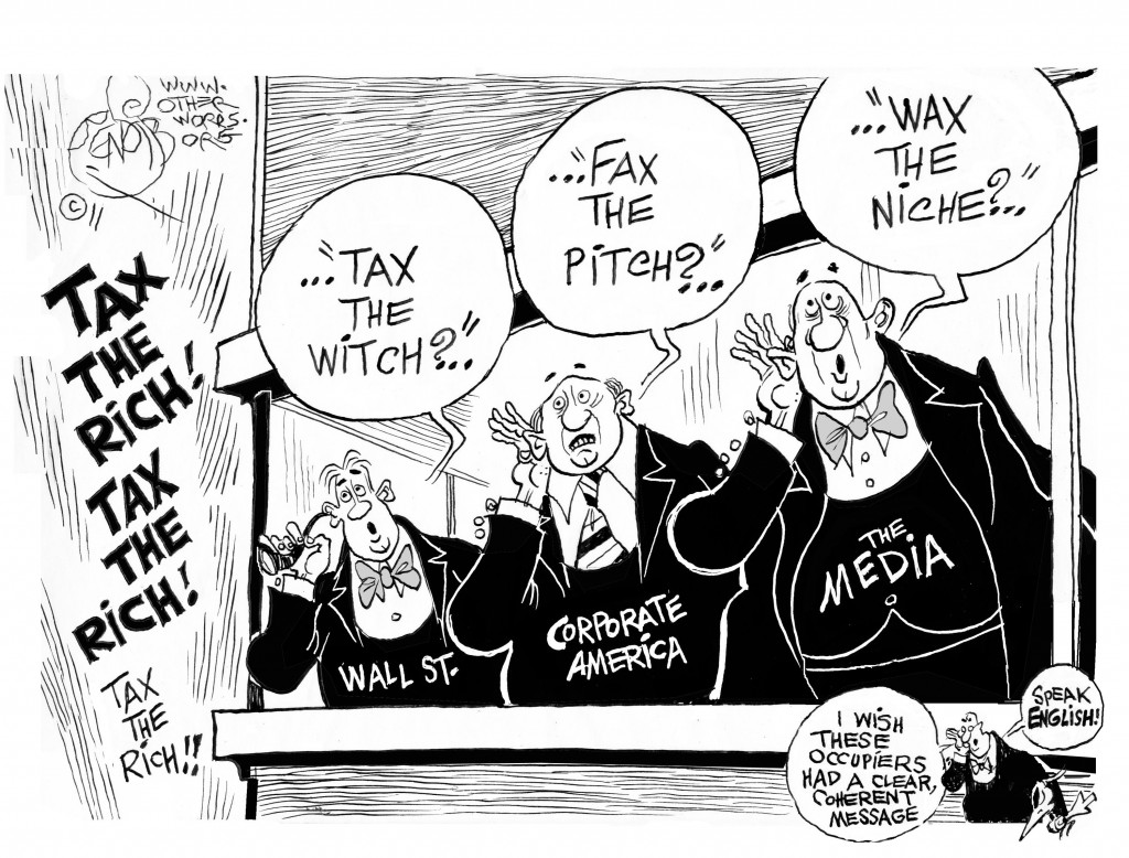 Tax the Rich, an OtherWords cartoon by Khalil Bendib