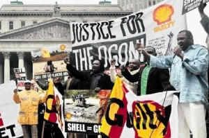 Nigerian protesters against Shell. Photo by OilChange International.