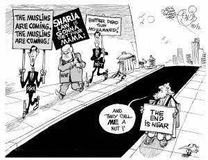 Islamophobic Contest, an OtherWords cartoon by Khalil Bendib