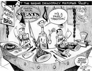"""Syria's Butcher,"" an OtherWords cartoon by Khalil Bendib."