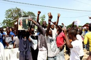 Liberians celebrate the conviction of Charles Taylor in Monrovia. (Travis Lupic / Flickr)