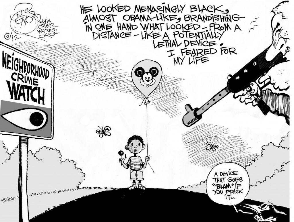 Crime Watch, an OtherWords cartoon by Khalil Bendib.