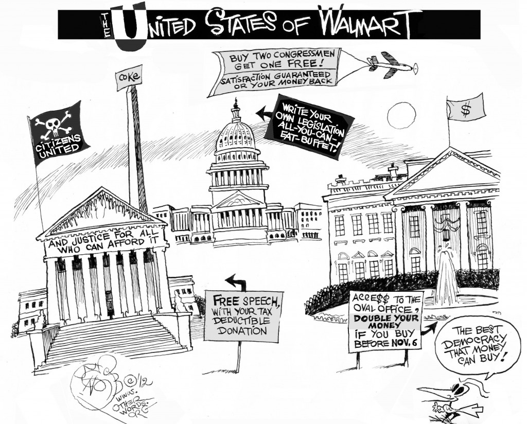 The United States of Walmart, an OtherWords cartoon by Khalil Bendib