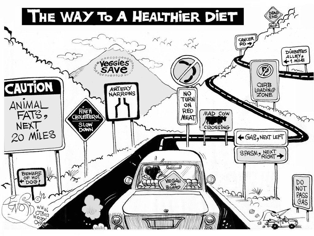 Vegan on Board, an OtherWords cartoon by Khalil Bendib.
