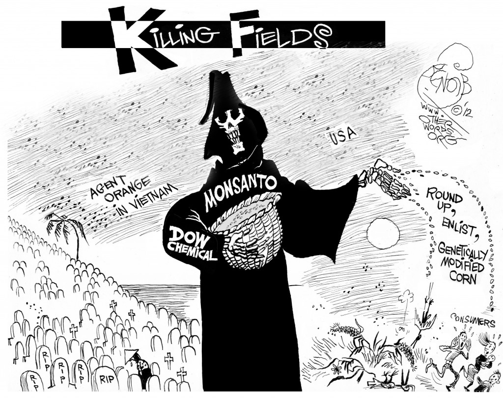 Killing Fields, an OtherWords cartoon by Khalil Bendib