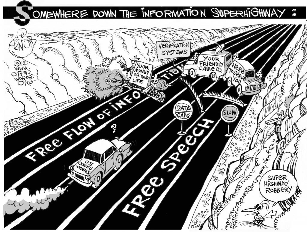 Super Highway Robbery, an OtherWords cartoon by Khalil Bendib