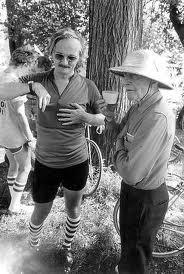 Donald Kaul (left), during the Des Moines Register's first Annual Great Bicycle Ride Across Iowa (RAGBRAI) in 1973. Photo courtesy of the Des Moines Register.