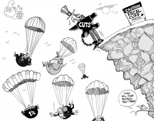 Caution, Fiscal Cliff Ahead, an OtherWords cartoon by Khalil Bendib