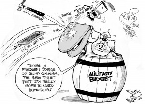 Military Port Shield, an OtherWords cartoon by Khalil Bendib