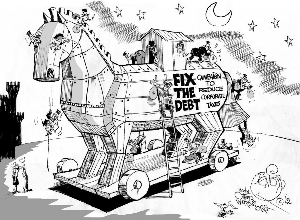 The 'Fix the Debt' Racket, a 2012 OtherWords cartoon by Khalil Bendib