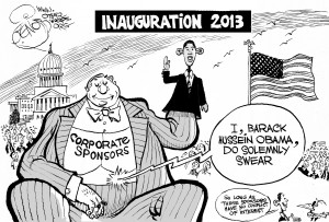 Corporate-Sponsored Inauguration, an OtherWords cartoon by Khalil Bendib
