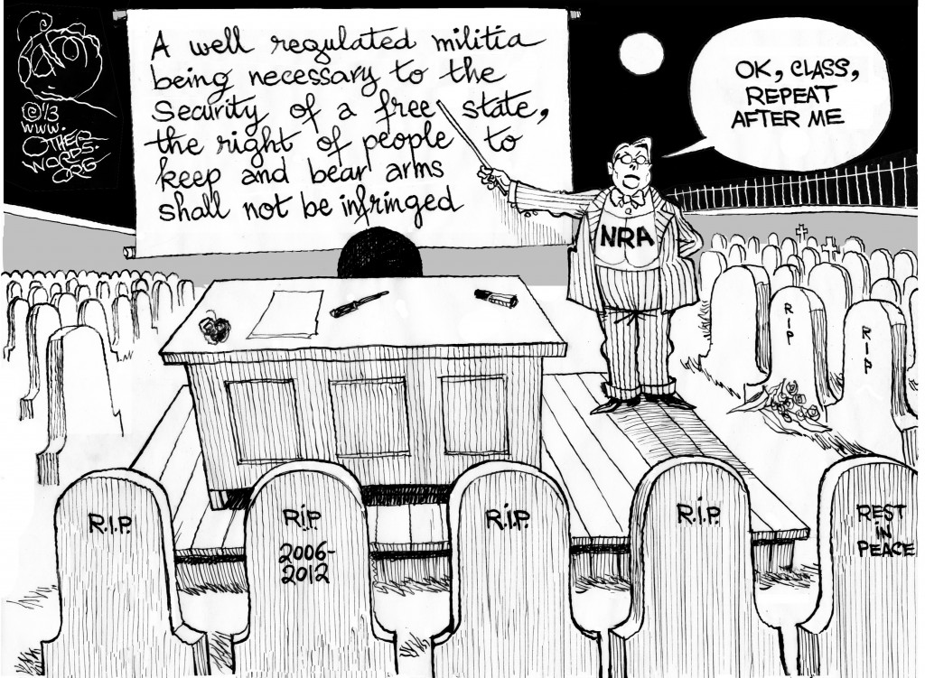 NRA Lesson Plan, an OtherWords cartoon by Khalil Bendib