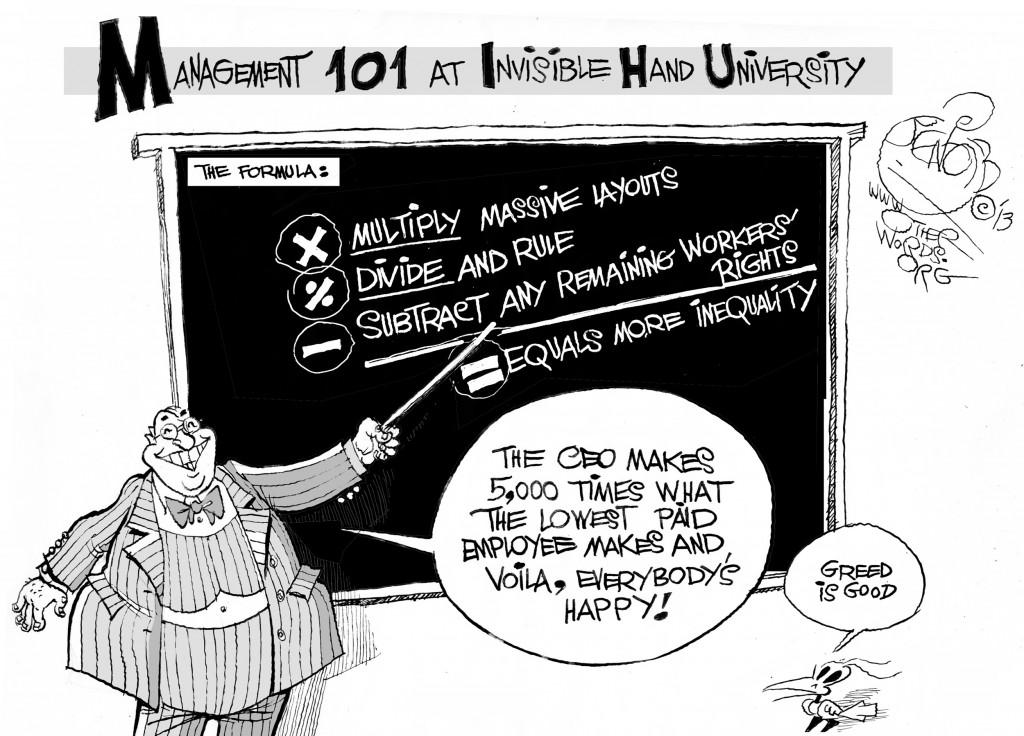 Invisible Hand University, an OtherWords cartoon by Khalil Bendib.