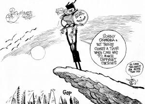 Sacrificing Social Security, an OtherWords cartoon by Khalil Bendib