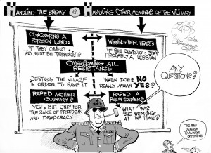 Military Assault Guidelines, an OtherWords cartoon by Khalil Bendib