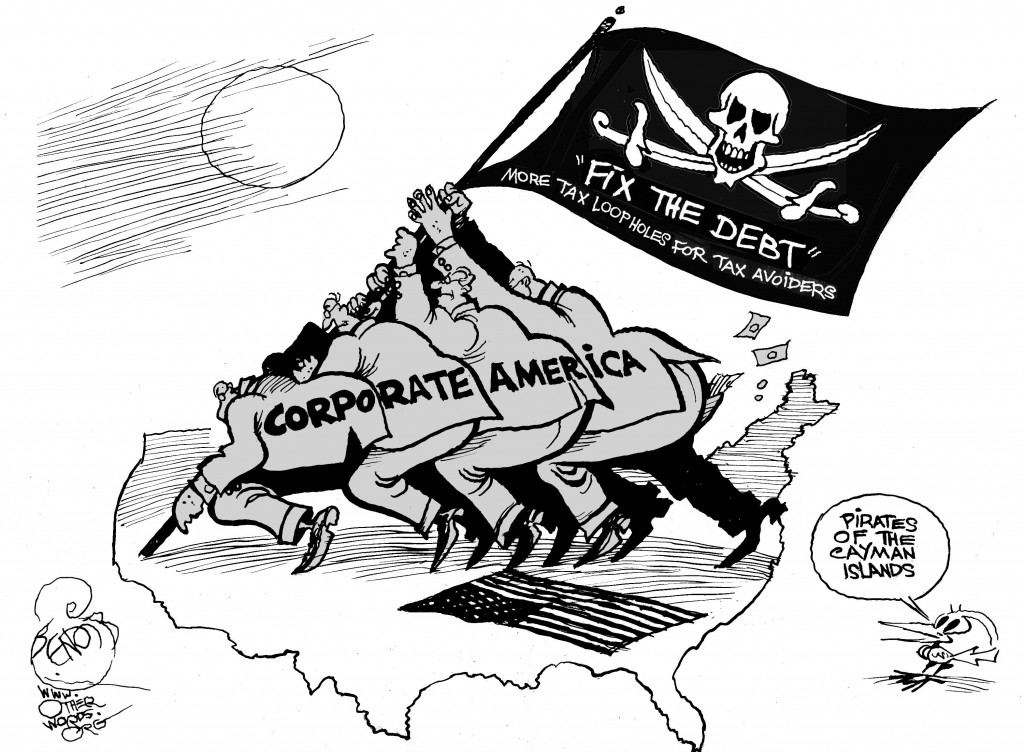 Pirates of the Cayman Islands, an OtherWords cartoon by Khalil Bendib