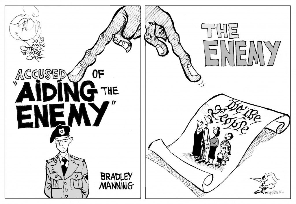Aiding the Enemy, an OtherWords cartoon by Khalil Bendib