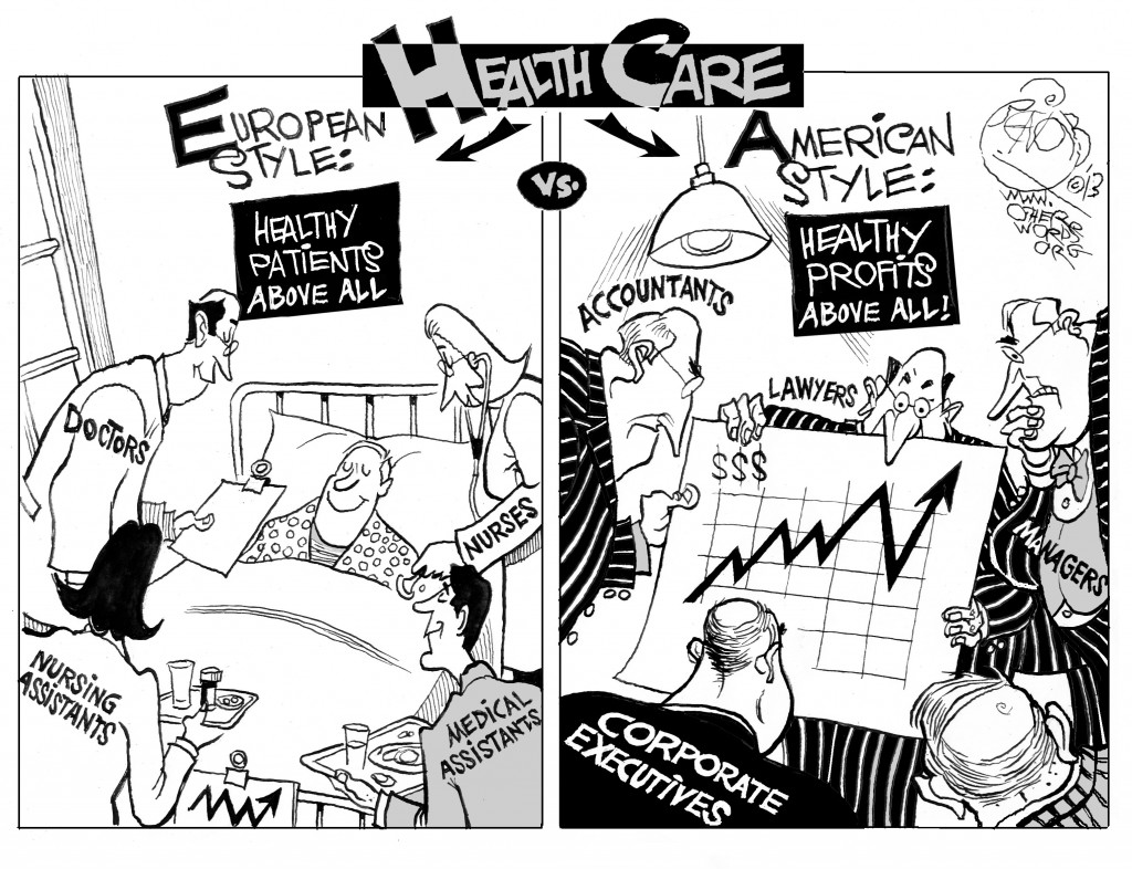 Patients vs Profits, an OtherWords cartoon by Khalil Bendib