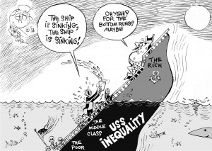 USS Inequality, an OtherWords cartoon by Khalil Bendib