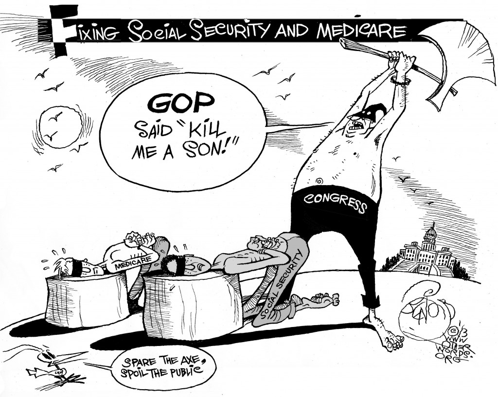 Fixing Social Security, an OtherWords cartoon by Khalil Bendib