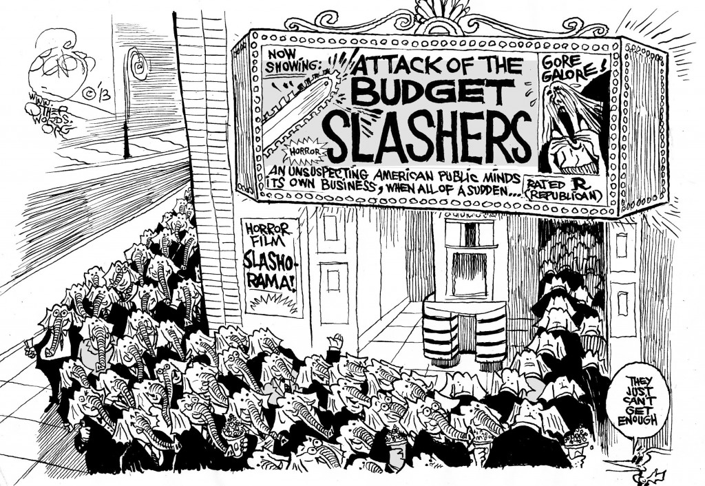 Attack of the Budget Slashers, an OtherWords cartoon by Khalil Bendib