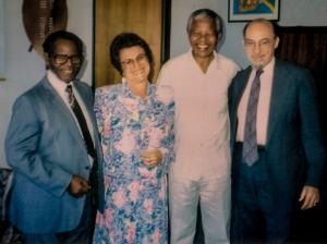 From right to left in this 1992 photo: Peter Weiss, Nelson Mandela, Cora Weiss, Oliver Tambo