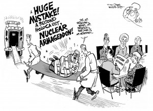 Explosive Reaction to Iran's Nuclear Deal, an OtherWords cartoon by Khalil Bendib