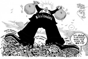How to Become a Billionaire, an OtherWords cartoon by Khalil Bendib
