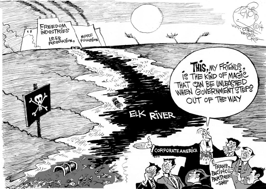 The Magic of De-Regulation, an OtherWords cartoon by Khalil Bendib