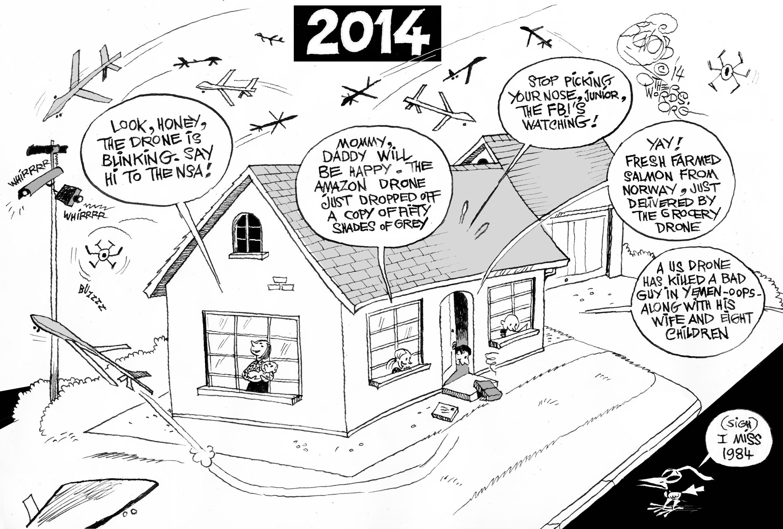 Drone City An OtherWords Cartoon By Khalil Bendib