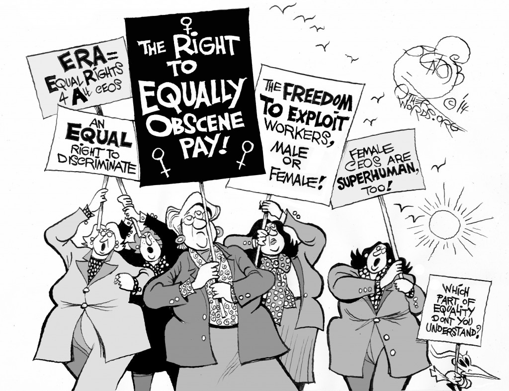 The Right to Equally Obscene Pay, an OtherWords cartoon by Khalil Bendib