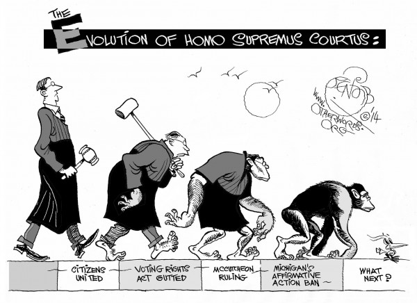 Supreme Court Evolution, an OtherWords cartoon by Khalil Bendib