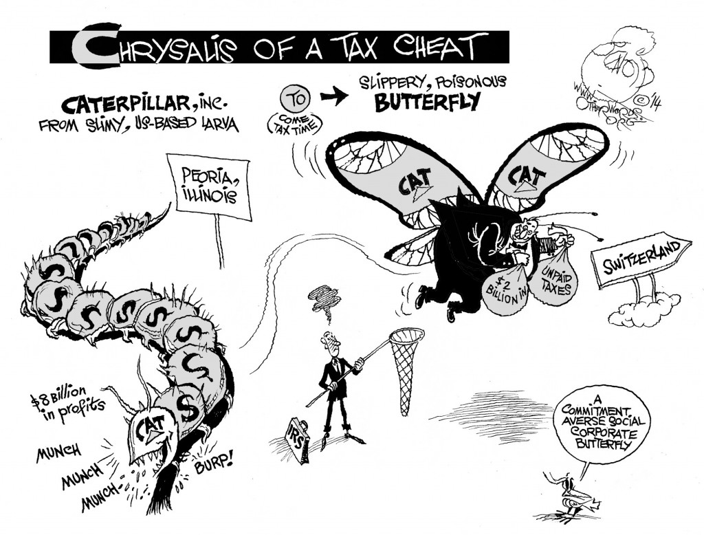 Tax-Cheating Butterfly, an OtherWords cartoon by Khalil Bendib