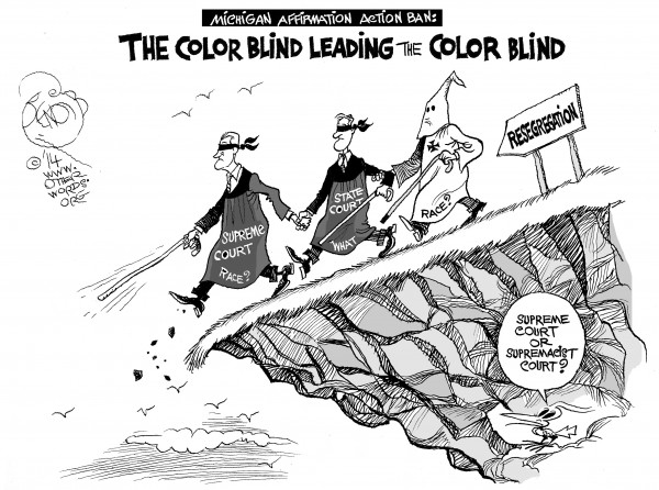 Navigating Back to Segregation, an OtherWords cartoon by Khalil Bendib