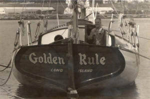 Bigelow aboard the Golden Rule, 1958. Photo courtesy VFPGoldenRuleProject.org