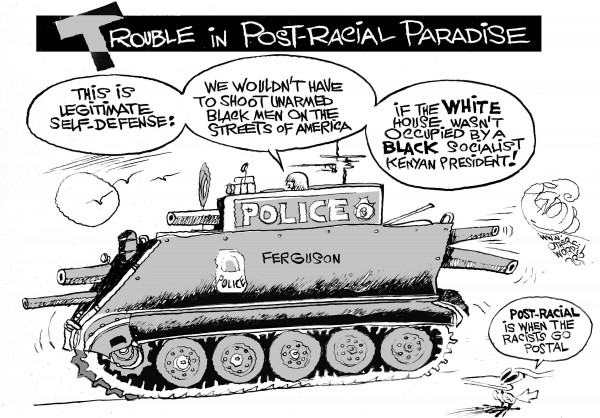 Racism Goes Postal, an OtherWords cartoon by Khalil Bendib