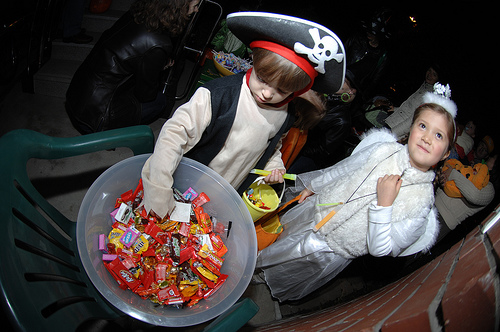 Kids trick or treat on Halloween