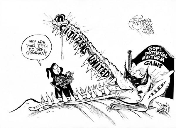 The GOP's Sharp Teeth, an OtherWords cartoon by Khalil Bendib