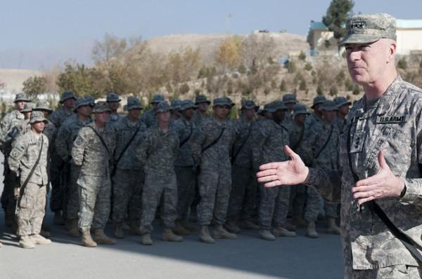 U.S. Army Lt. Gen. Daniel P. Bolger with troops, via NATO Training Mission-Afghanistan/Flickr