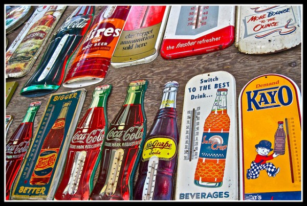 Wall of Vintage Soda Artifacts