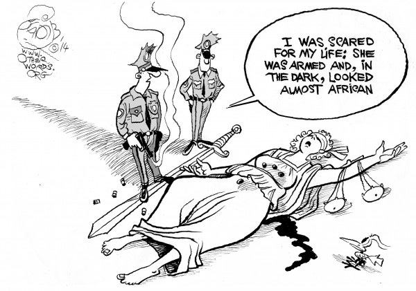 The Prejudicial System, an OtherWords cartoon by Khalil Bendib