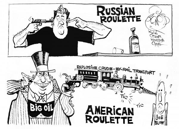 Big Oil's Lethal Game, an OtherWords cartoon by Khalil Bendib