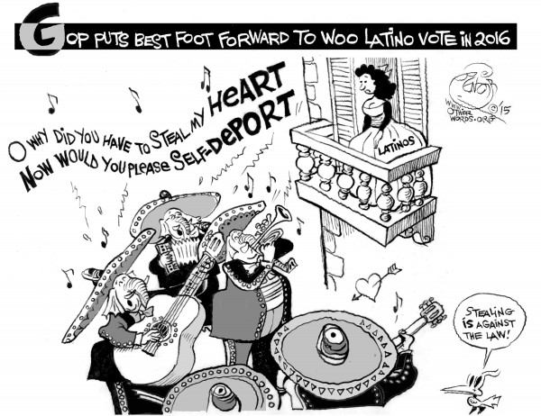Wooing the Latino Vote, an OtherWords cartoon by Khalil Bendib