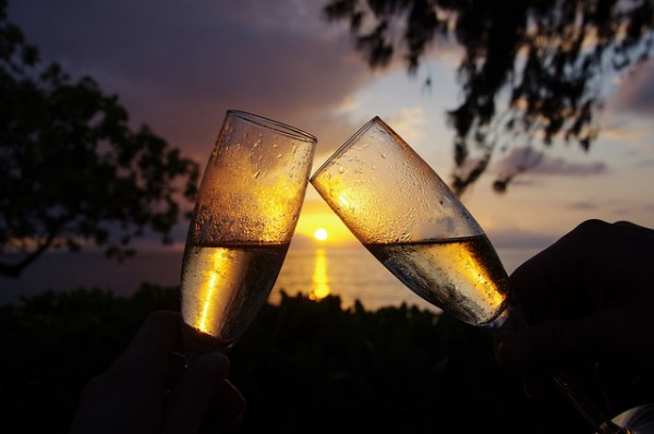 toasting champagne